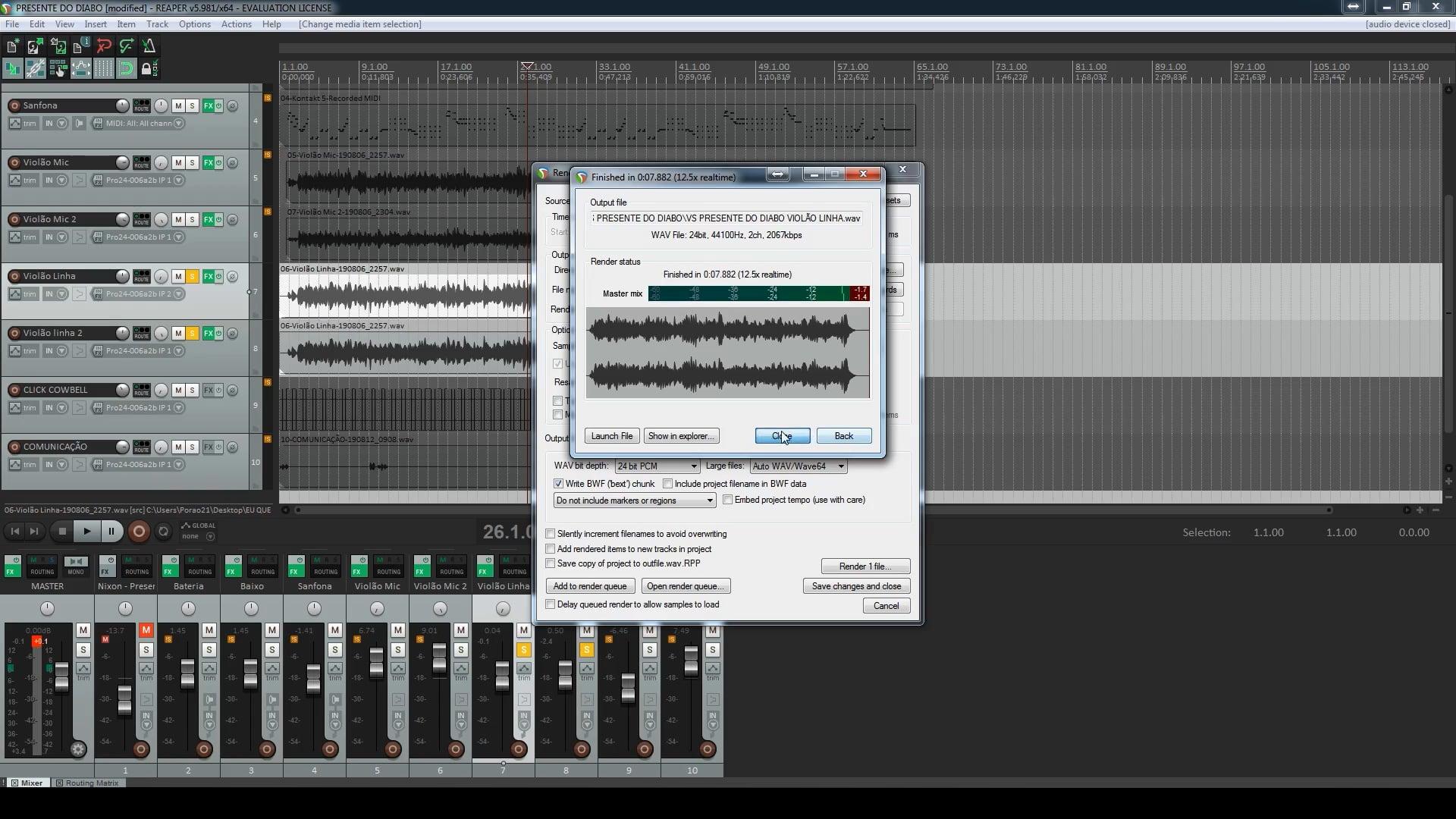 Projeto Aberto de Reprodução - Exportando Trilhas da música O presente do Diabo